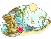 stock photo of tiki  - Illustration of a Tropical Beach Decorated With a Tiki Statue - JPG