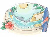 Illustration of a Tropical Beach With a Surfboard and a Hibiscus on the Side