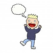 cartoon crazy happy man with thought bubble