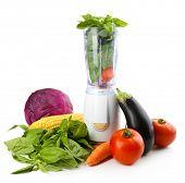 image of blender  - Blender with fresh vegetables isolated on white - JPG