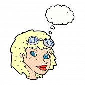 cartoon happy woman wearing aviator goggles with thought bubble