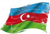 Azerbaijan grunge flag. Flag of  Azerbaijan in the wind with a texture