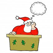 cartoon bored santa claus with thought bubble