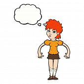 cartoon curious woman with thought bubble