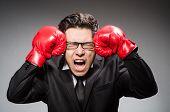 Funny boxer businessman in sport concept