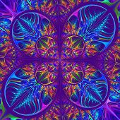 Multicolored Diagonal Symmetric Pattern Of The Leaves. Collection - Tree Foliage. In Blue, Purple Pa