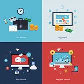 Icons for time is money, pay per click, online shopping, social media and analytical research in fla