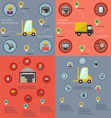 Collection of logistic flat infographic templates
