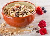 Healthy Muesli Breakfast In Clay Bowl