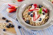 Breakfast - Fresh Berries, Yogurt And  Muesli.