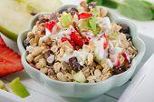Muesli,yogurt And  Fruits For Breakfast