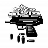 stock photo of uzi  - Illustration of uzi gun and lot of money - JPG