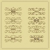 Set of 8 Calligraphy Monogram Floral Design, Vintage Pattern Logos