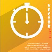 Timer Icon Symbol Flat Modern Web Design With Long Shadow And Space For Your Text. Vector