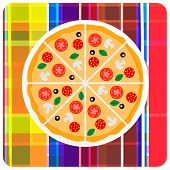 Vector clip art illustration of italian pizza on the plaid