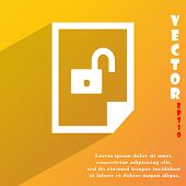 File Unlocked Icon Symbol Flat Modern Web Design With Long Shadow And Space For Your Text. Vector