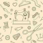 Seamless Sewing Sketch Pattern