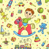 Cute Hand-drawn Vector Seamless Pattern With Toys