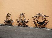 Malaysia, Penang, Georgetown - Circa Jul 2014: Three Dimensional Wall Art Depicting A Cartoon Style