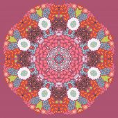 Circle ornament, ornamental round lace with floral elements. Vector mandala design element in vector