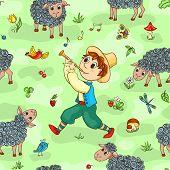 Seamless Pattern With Shepherd-boy