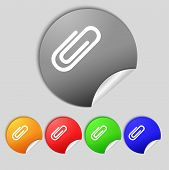 Paper Clip Sign Icon. Clip Symbol. Set Of Colored Buttons. Vector