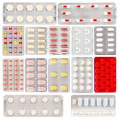 Set Of Pills In A Plastic Blister Packages