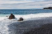 picture of atlantic ocean beach  - Atlantic ocean and black pebble beach in Iceland - JPG