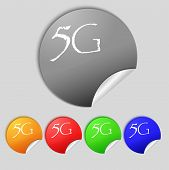 5G Sign Icon. Mobile Telecommunications Technology Symbol.  Set Of Colour Buttons. Vector