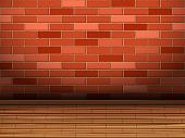 Wooden Floor And Brick Wall