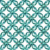 pic of aquamarine  - Flower braided Mesh with aquamarine on a white background - JPG