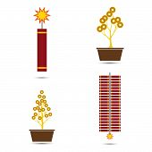 Chinese New Year Vector Fire Crackers And Coins Tree Pot