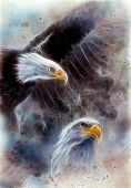 American Bald Eagles Abstract Background Fractal Efect
