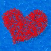 stock photo of compose  - Composed decorative red heart on blue background - JPG