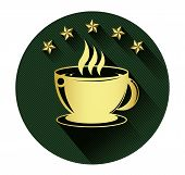 Golden coffee cup and five star icon with long shadow effect