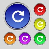 Update Sign Icon. Full Rotation Arrow Symbol. Set Colourful Buttons. Vector