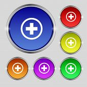Plus Sign Icon. Positive Symbol. Zoom In.set Colourful Buttons. Vector