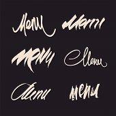 Vector set of calligraphic menu headlines.