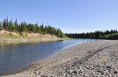 Pebbly Shore Of The River Kokpela.