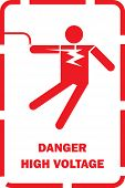 foto of warning-signs  - Flat Vector of high voltage shock Warning for thailand electricity post sign - JPG