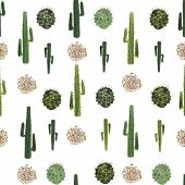 Cacti And Tumbleweed Seamless Pattern