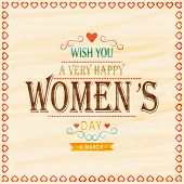 Elegant greeting card design for International Women's Day celebration on stylish background.
