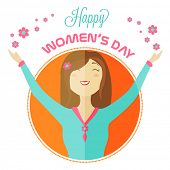 International Women's Day celebration with young girl expressing happiness by extending her arms on white background.