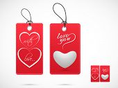 Red Valentines Day stickers, tags or labels with text Love You and hearts on shiny grey background.