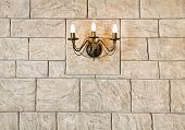 Brick Wall Chandelier In Style Of Candlestick
