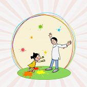 Cute little girl with her father, enjoying and celebrating Indian festival of colors, Holi on rays background.