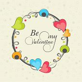 Happy Valentine's Day celebration with text Be My Valentine on colorful hearts decorated frame.