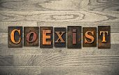 Coexist Wooden Letterpress Concept