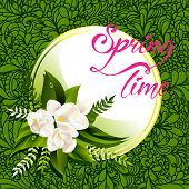 Fresh lettering spring background with white flowers and leaves