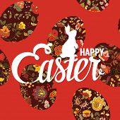Happy Easter ornate lettering greeting card with floral background